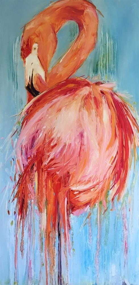 """Flamingo Pose"" original fine art by Kathleen Broaderick"