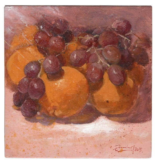 """Uvas sobre naranjas"" original fine art by Emilio López"