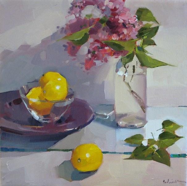 """Lilacs and Lemons"" original fine art by Sarah Sedwick"