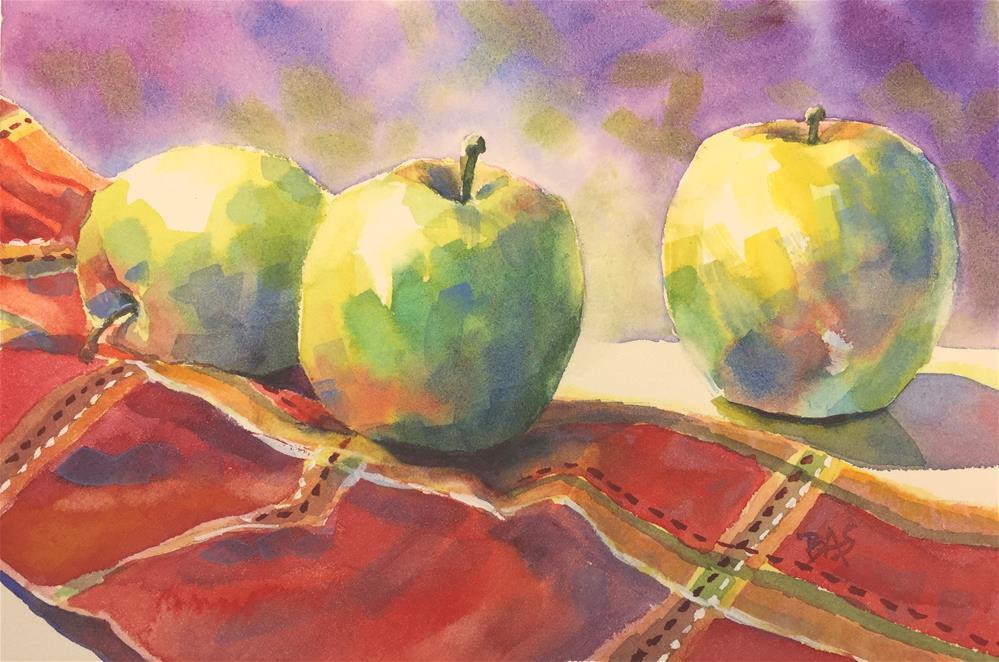 """""""Apple Trio"""" original fine art by Barbara Scheihing"""