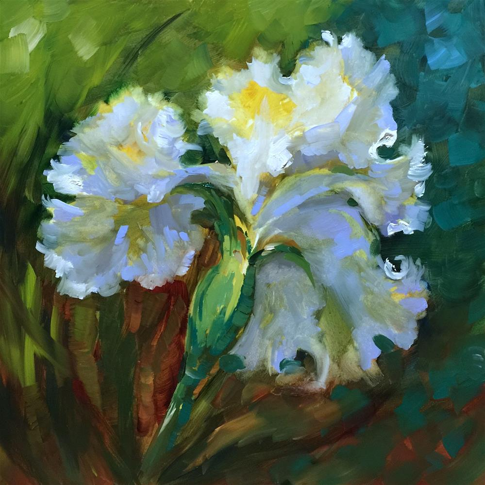 """Among the Angels White Iris"" original fine art by Nancy Medina"