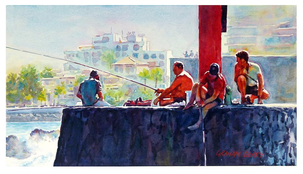 """Fishing off the quay."" original fine art by Graham Berry"