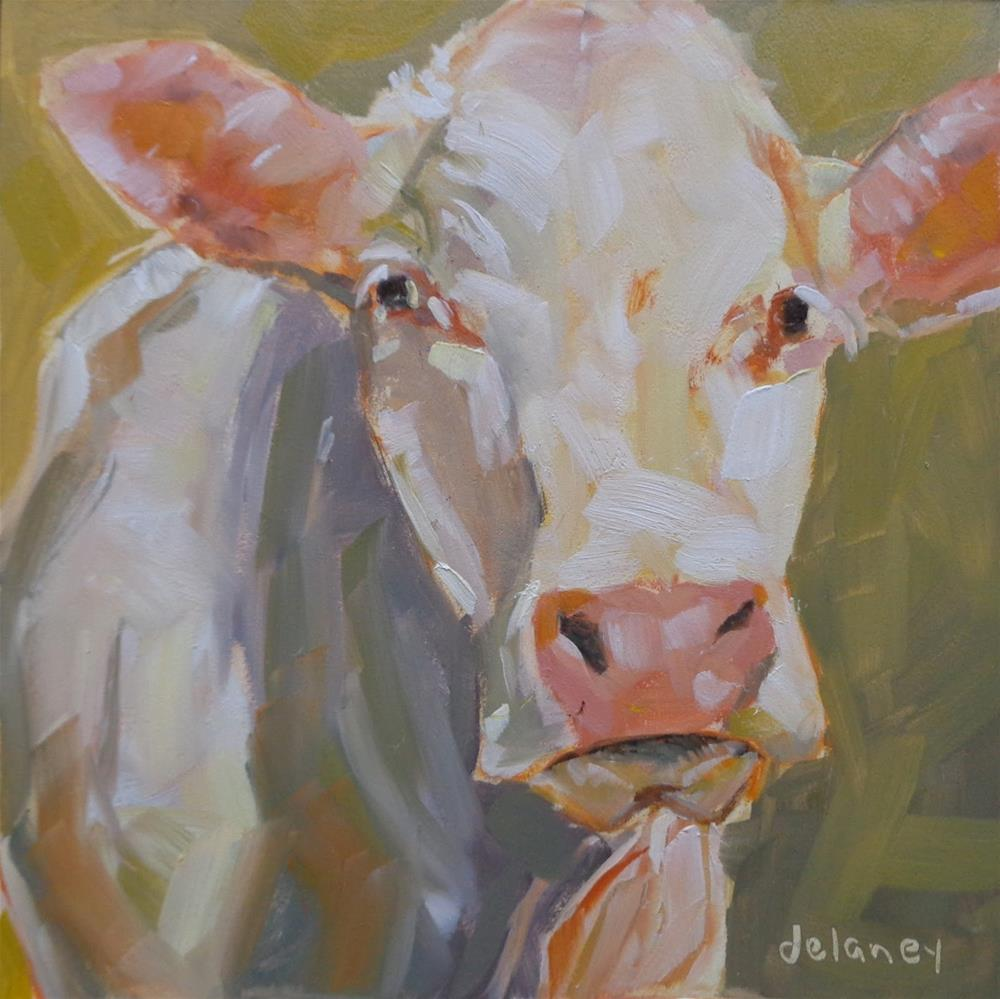 """Cow 95 PROUD MARY"" original fine art by Jean Delaney"