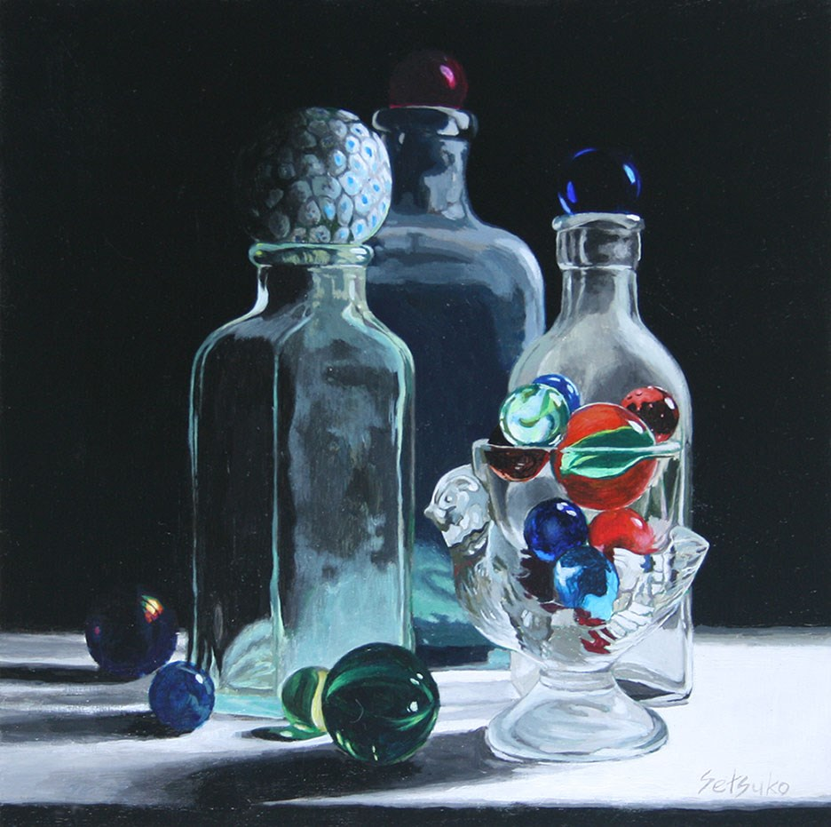"""Antique bottles, egg holder, and marbles"" original fine art by Setsuko Lawson"