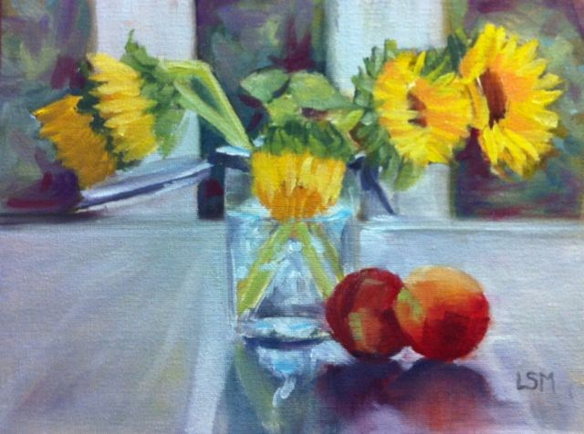 """Peaches and Sunflowers"" original fine art by Linda Marino"