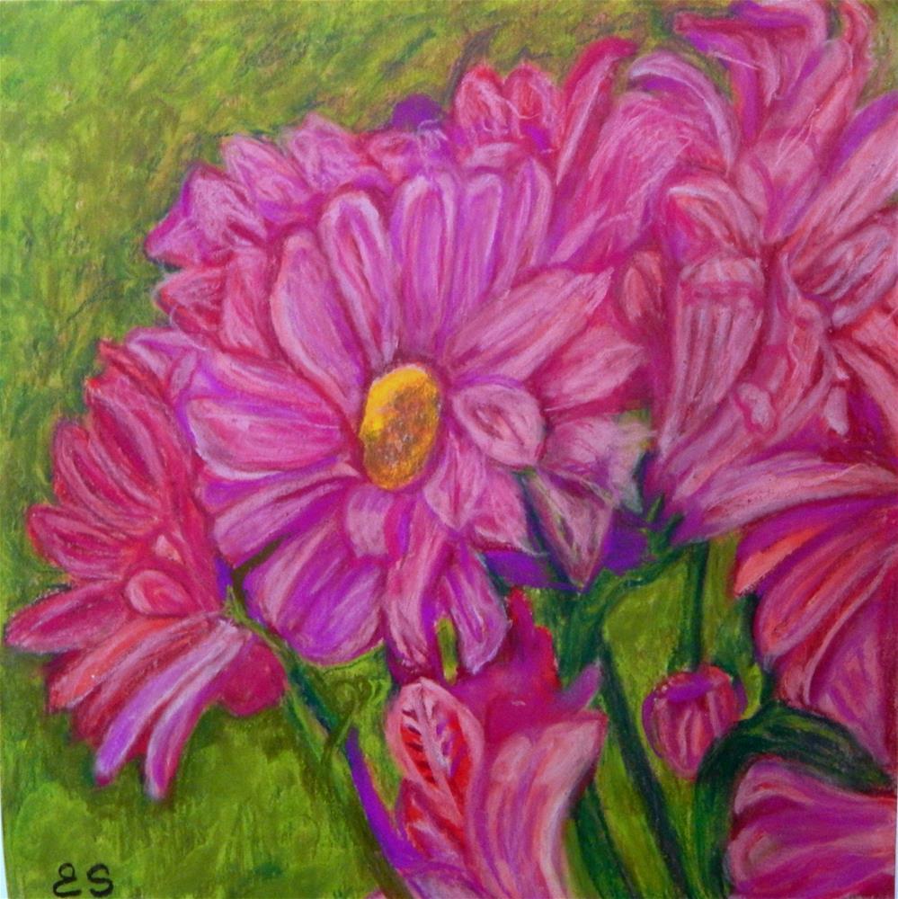 """""""Pink Daisys"""" original fine art by Elaine Shortall"""