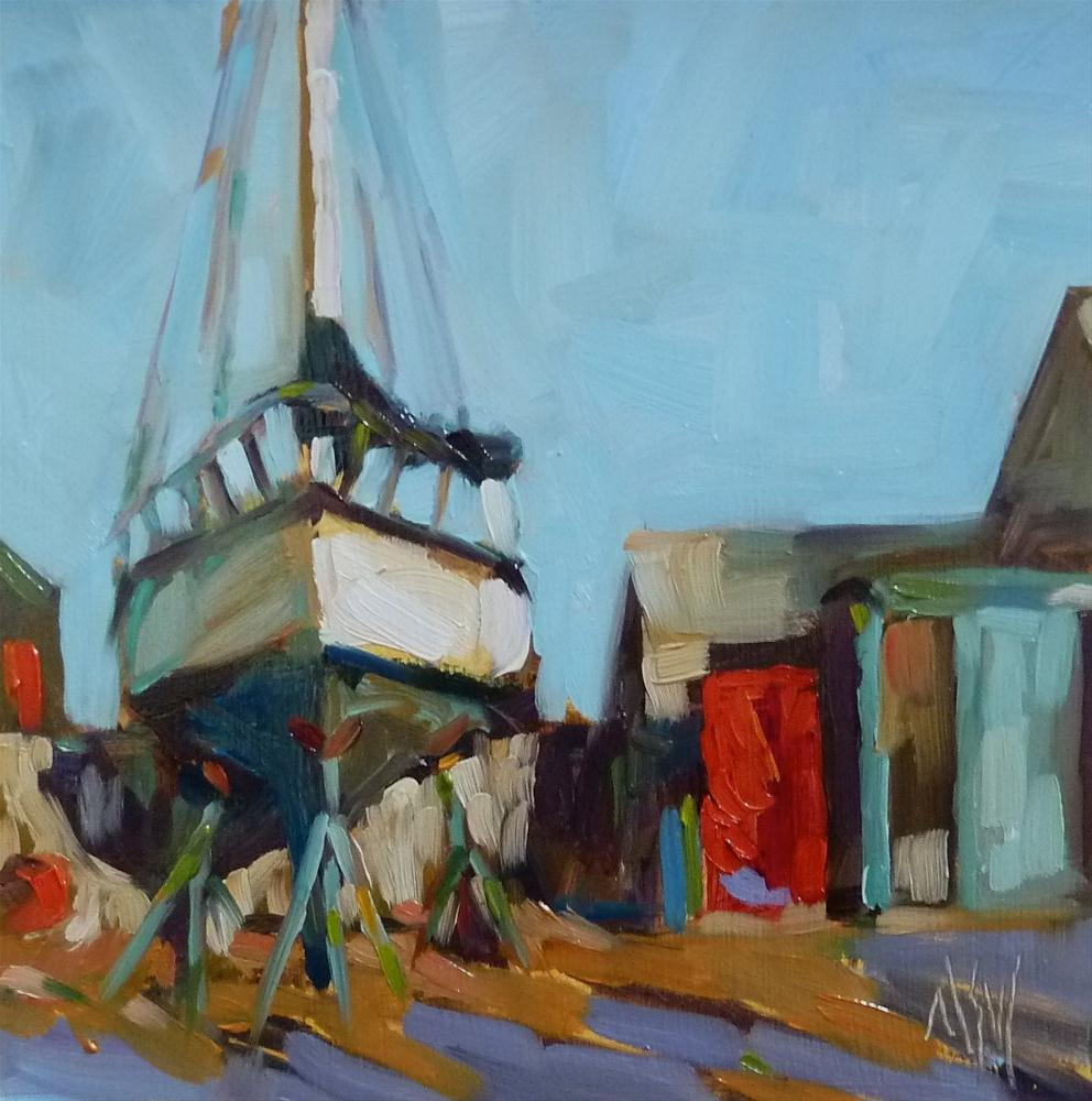 """Up On Stilts  6x6 oil on board. A winter scene at a local Marina. I loved the red door (it was really a Coke machine) and the play of red and green in this scene."" original fine art by Mary Sheehan Winn"