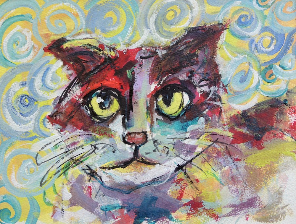 """Crazy Cat"" original fine art by Mary Schiros"