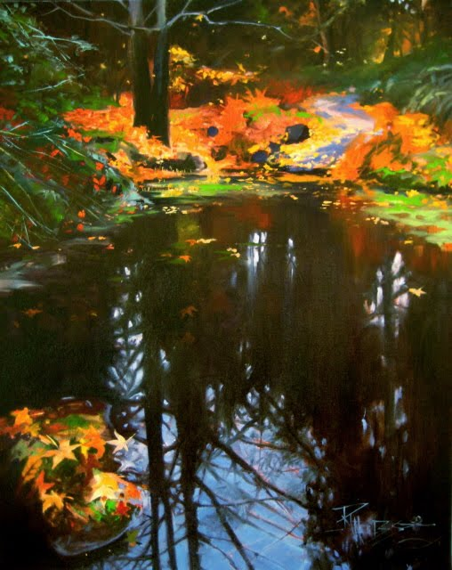 """Reflecting Fall oil landscape painting, Arboretum series"" original fine art by Robin Weiss"