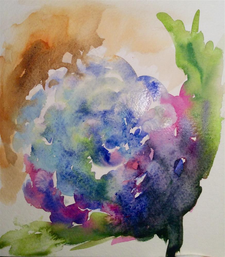 """Blue Hydrangea "" original fine art by Molly Rohrscheib Hathaway"