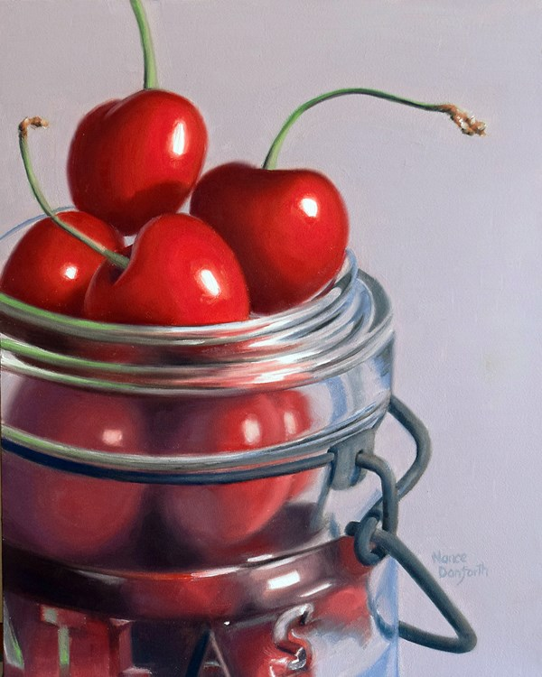 """Cherries in Canning Jar"" original fine art by Nance Danforth"