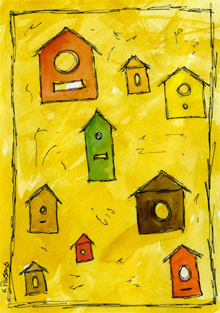 """Birdhouses"" original fine art by Kali Parsons"