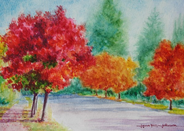 """Red, Orange and Yellow Trees"" original fine art by Jana Johnson"