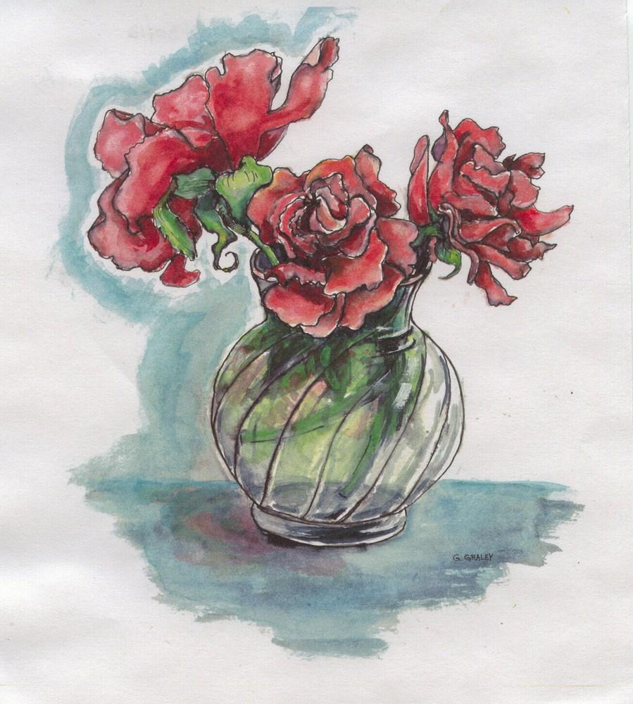 """Red Roses"" original fine art by Geri Graley"