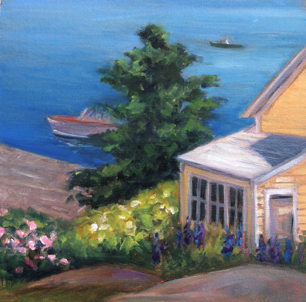 """Yellow House by the Sea  Framed"" original fine art by Lynne Schulte"