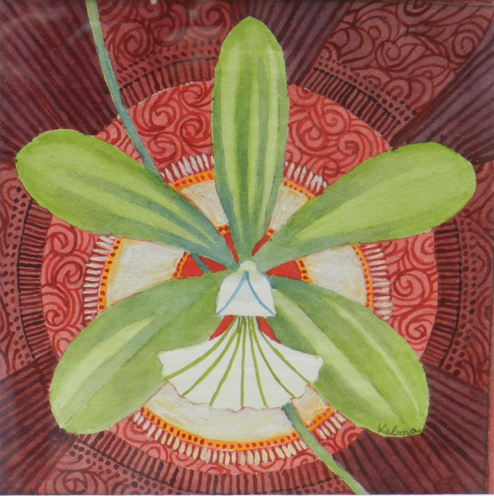 """Green and White Orchid"" original fine art by Velma Davies"