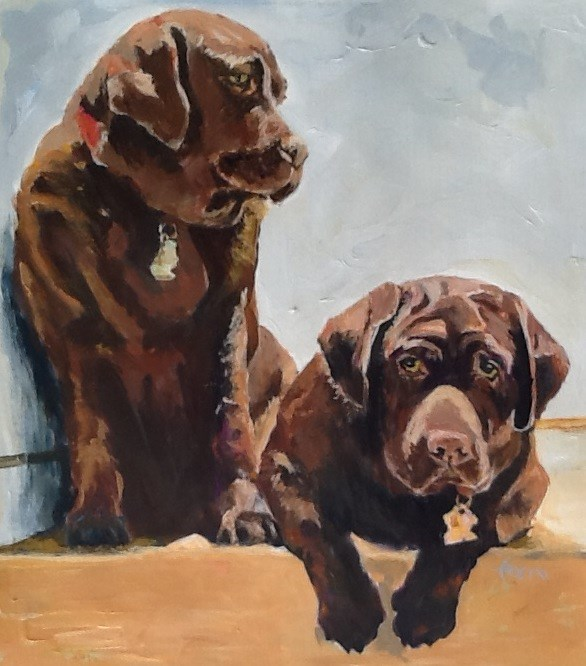 """Bella and Oscar"" original fine art by Susan Ferro"