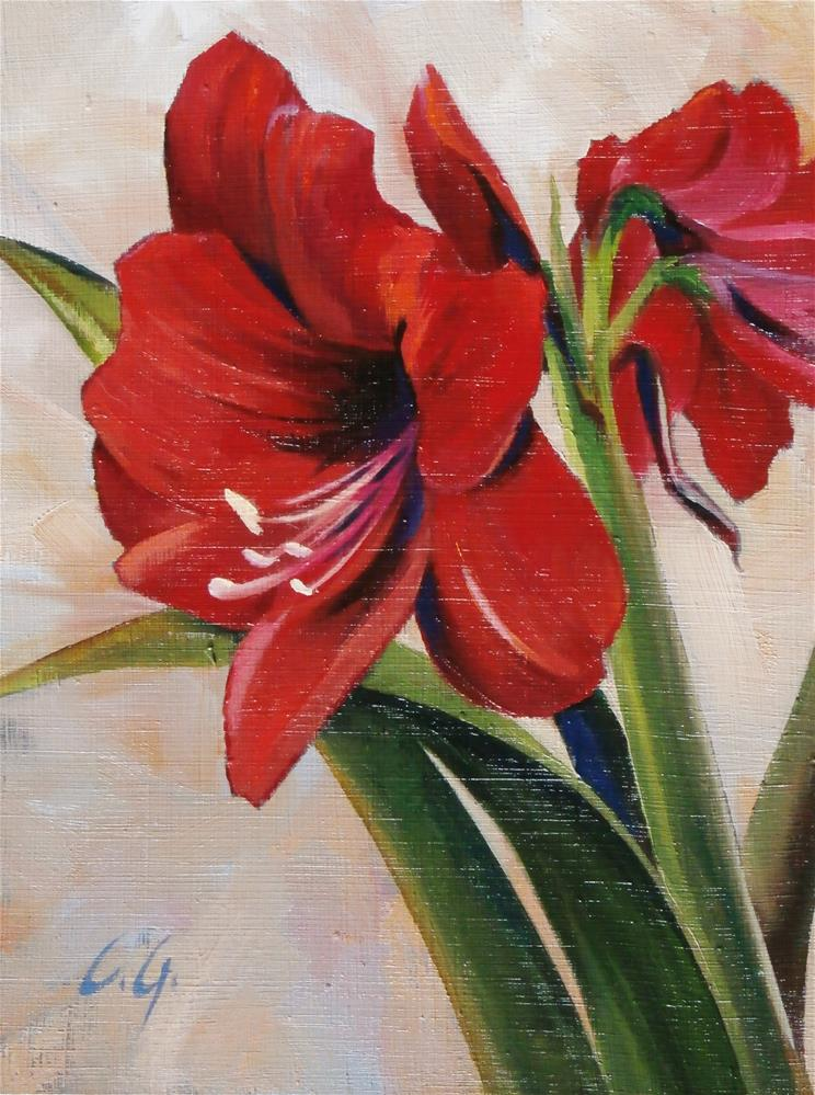"""Red on White"" original fine art by Carla Gauthier"