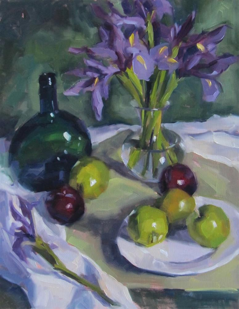 """Green Bottle and Iris"" original fine art by Katia Kyte"
