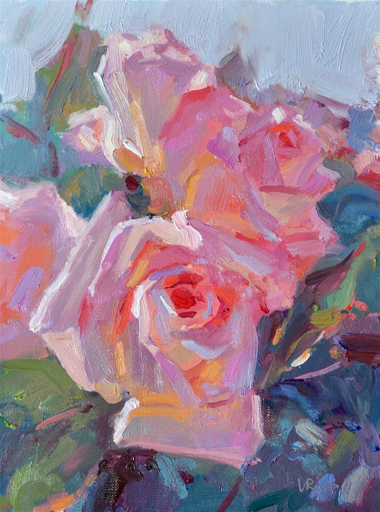 """""""Evening Roses"""" original fine art by Lena  Rivo"""