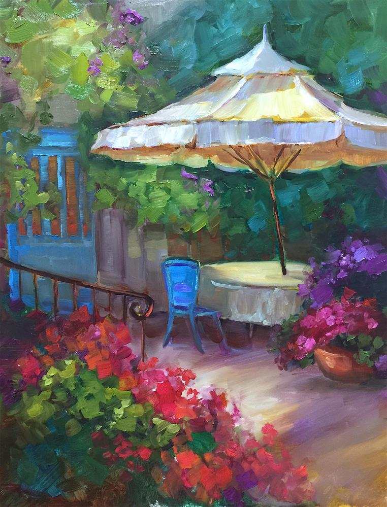 """French Patio and a Month in France - Nancy Medina Art Videos and Classes"" original fine art by Nancy Medina"