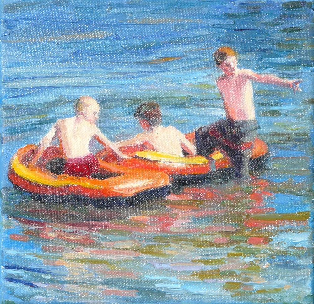 """Over There,figures,oil on canvas,8x8,price$750"" original fine art by Joy Olney"