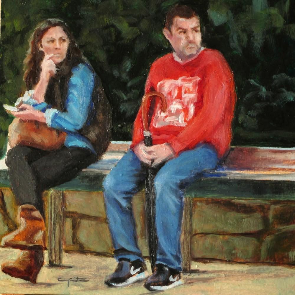 """Esperando el bus"" original fine art by Eduardo Carpintero"
