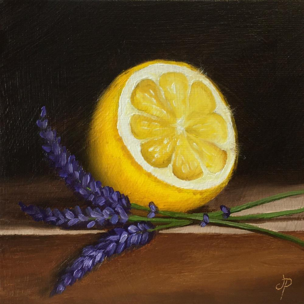 """Lemon half with lavender"" original fine art by Jane Palmer"