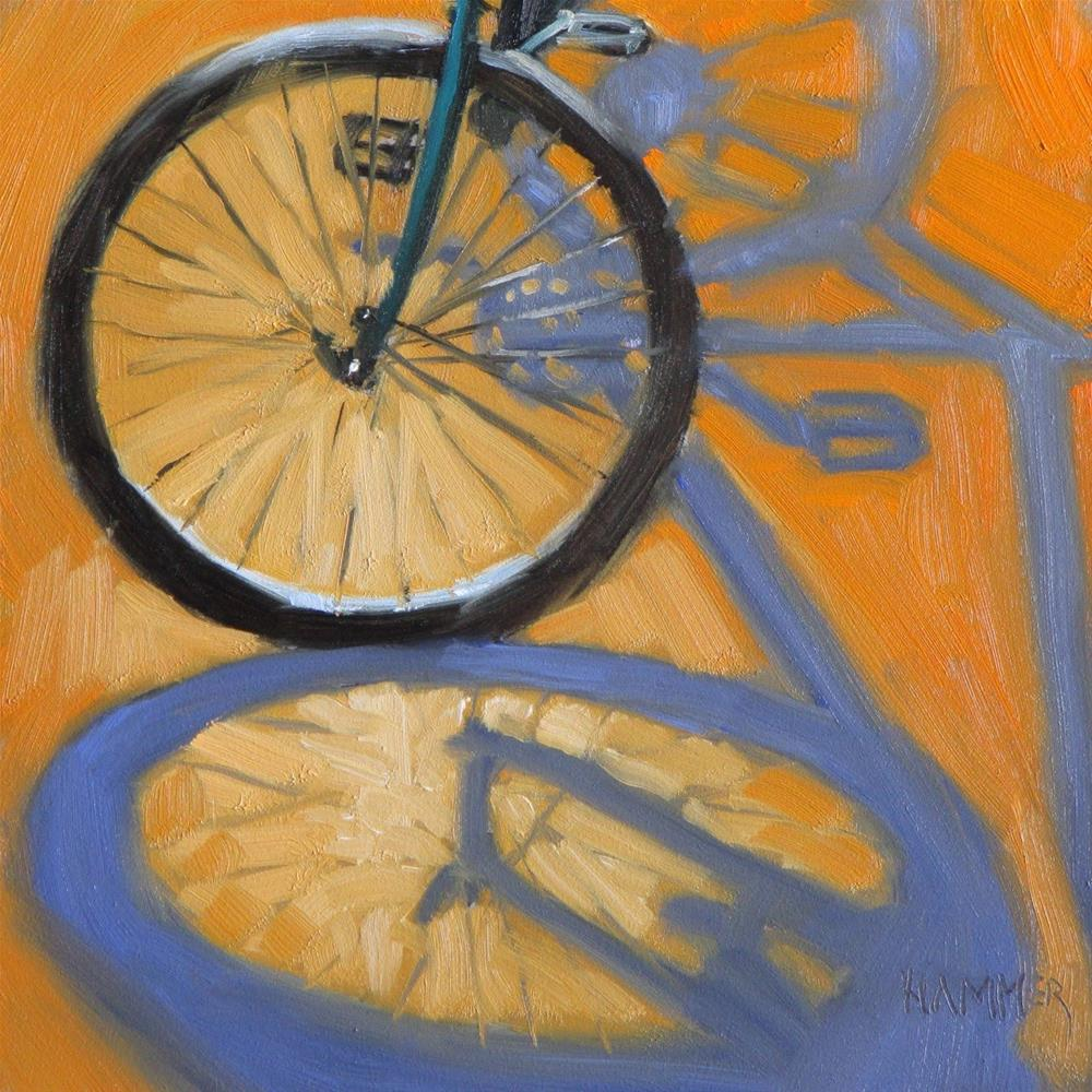 """Bicycle III   6x6 in    oil painting"" original fine art by Claudia Hammer"