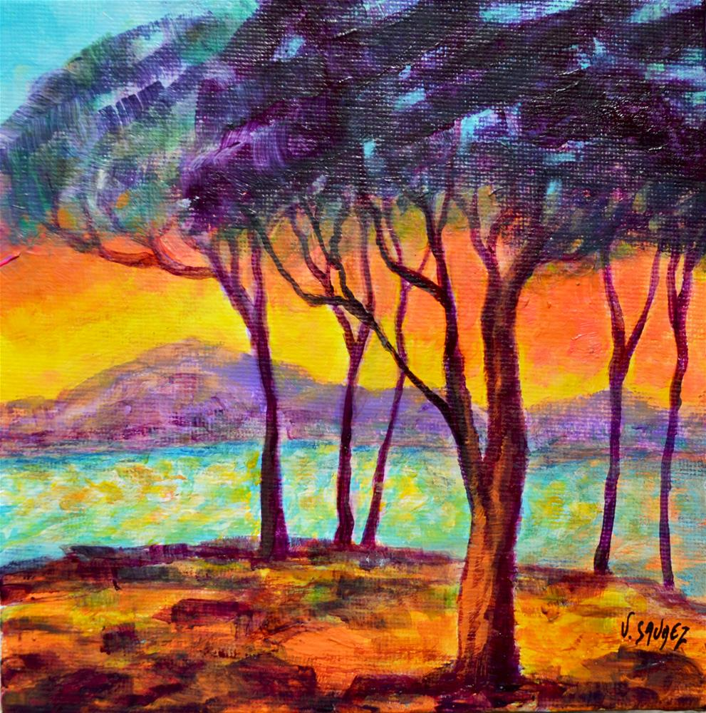 """Sunset in Juan-Les-Pins (France)"" original fine art by Véronique Saudez"