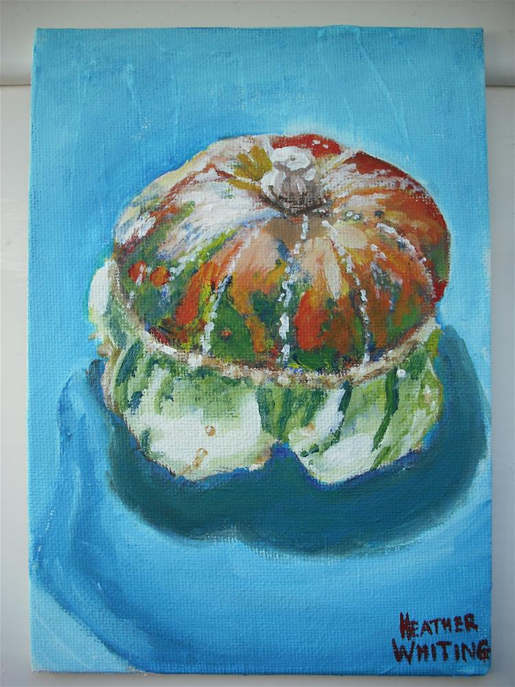 """First Home Grown Squash"" original fine art by Heather Whiting"
