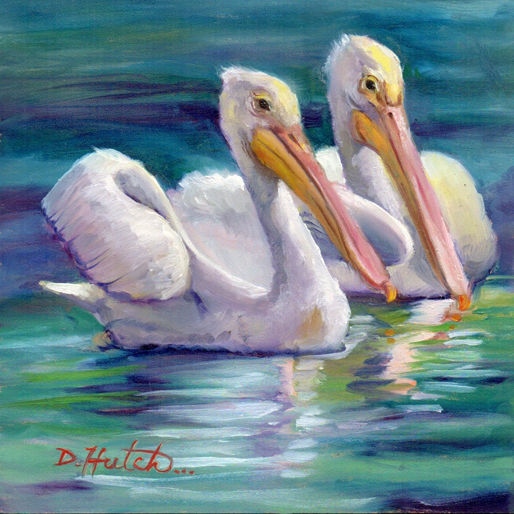 """White Pelicans"" original fine art by Diane Hutchinson"