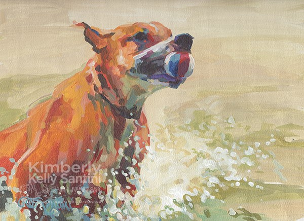 """Ball Hog (Harley)"" original fine art by Kimberly Santini"