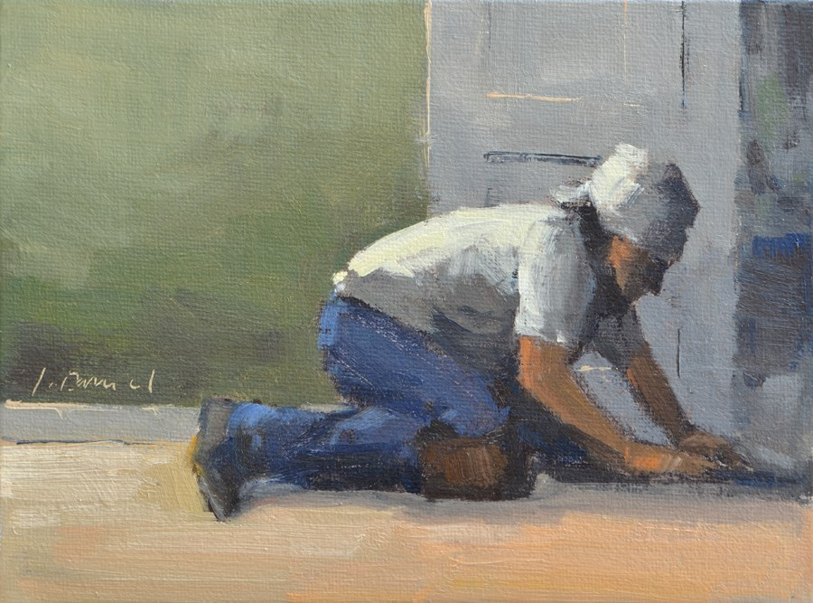 """The Floor Man - men at work"" original fine art by Laurel Daniel"