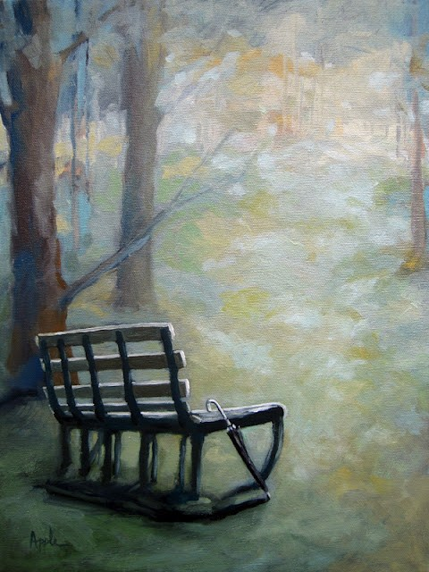 """Empty Bench"" original fine art by Linda Apple"