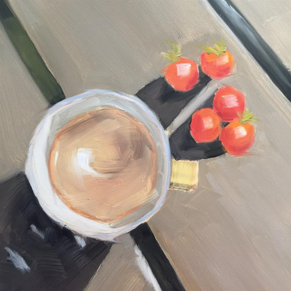 """343 Coffee and Cherry Tomatoes"" original fine art by Jenny Doh"