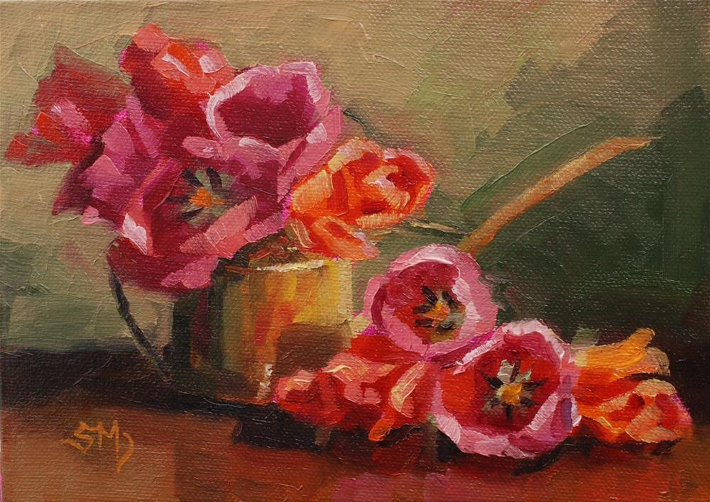 """Tulips in Watering Can"" original fine art by Susan McManamen"