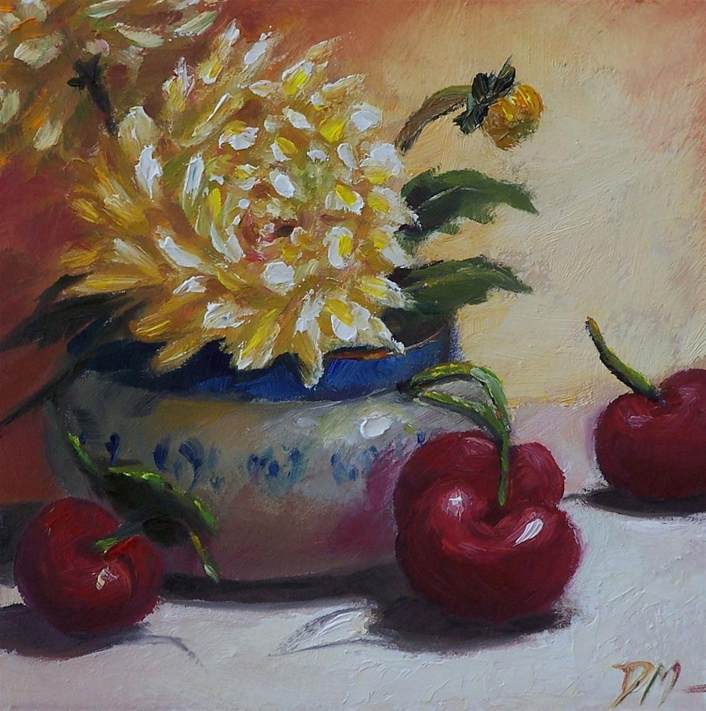 """Dahlias and Cherries"" original fine art by Donna Munsch"