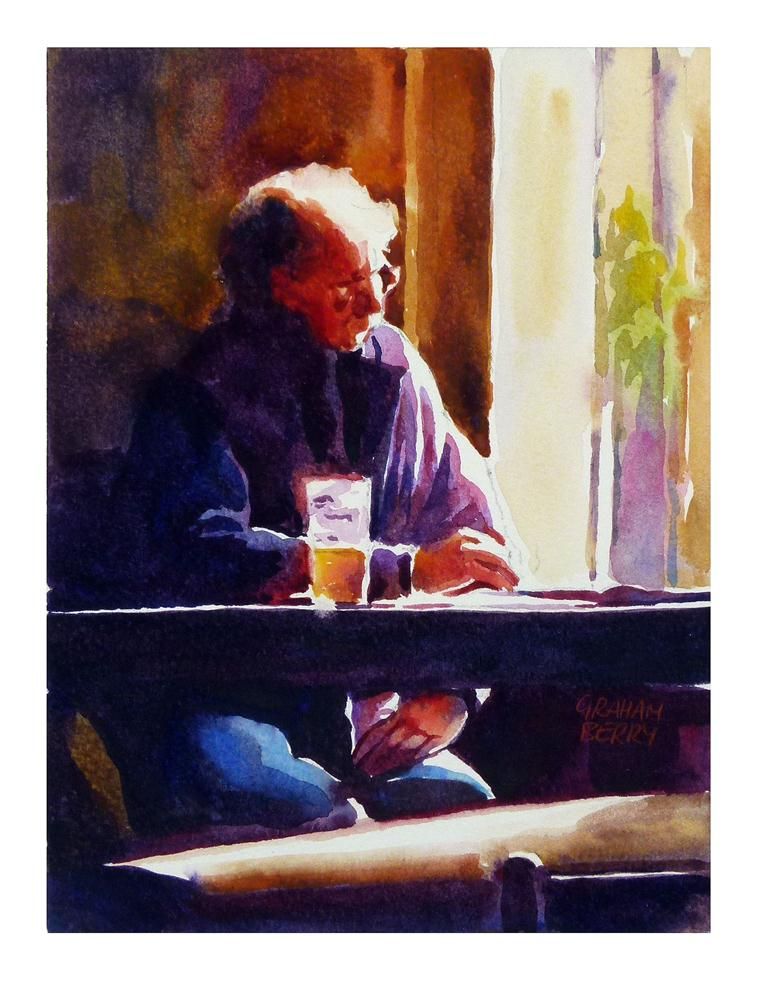 """Reading in the pub."" original fine art by Graham Berry"