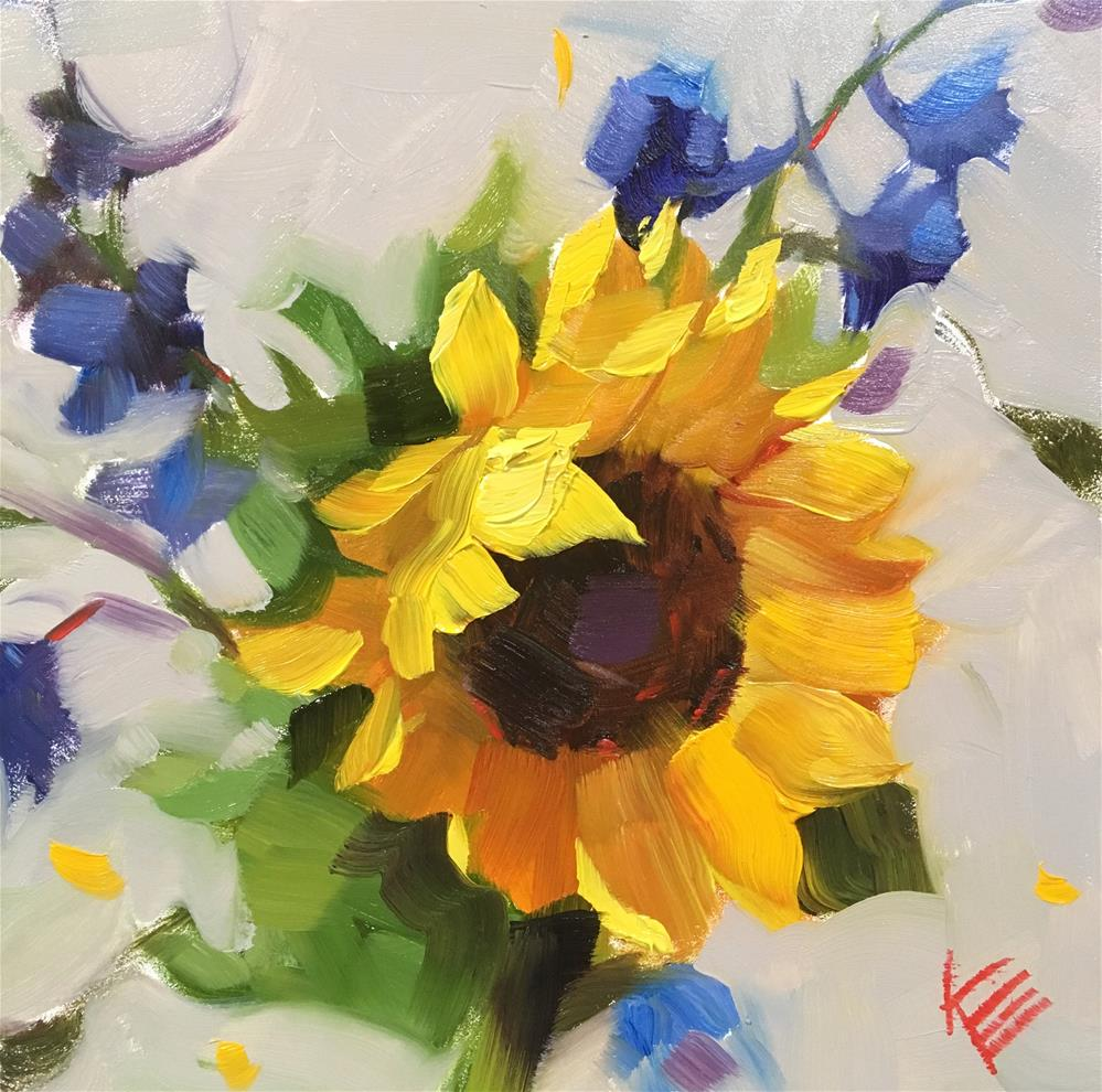 """Sunflower & Delphinium "" original fine art by Krista Eaton"