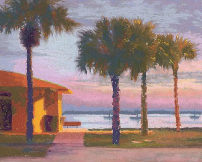 """Gulfport Beach Sunset Pastel Painting"" original fine art by Nancy Poucher"