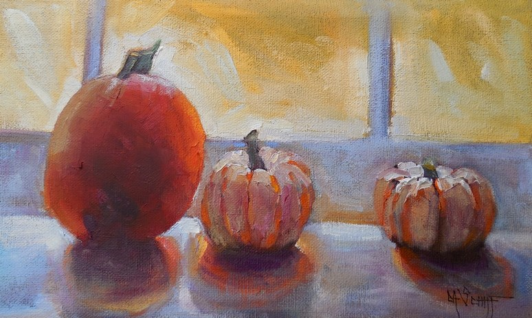 """Pumpkin Painting, Daily Painting, Small Oil Painting, Pumpkins in the Window by Carol Schiff, 6x12"" original fine art by Carol Schiff"