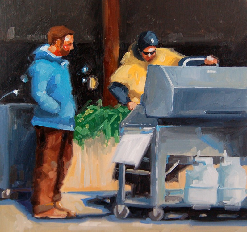 """No 430 Waiting for Lunch"" original fine art by Robin J Mitchell"