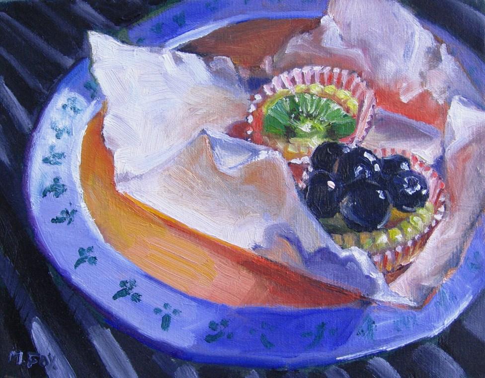 """Blueberry & Kiwi Tarts"" original fine art by Marie Fox"