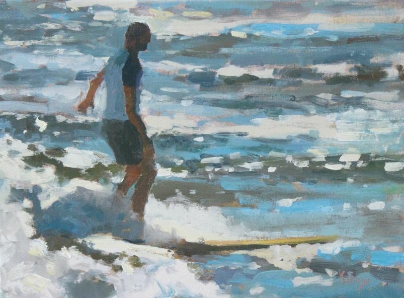 """Longboarding"" original fine art by Randall Cogburn"