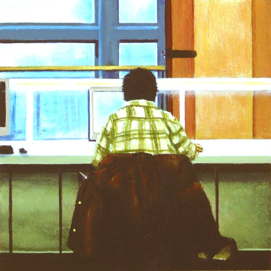 """Windows- Painting Of Man Working On Computer"" original fine art by Gerard Boersma"
