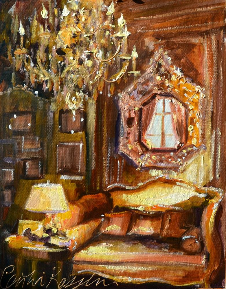 """GOLDEN CHANDELIER"" original fine art by Cecilia Rosslee"