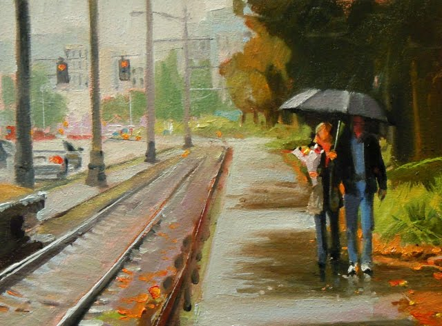 """Bring flowers  Seattle city scape oil painting"" original fine art by Robin Weiss"