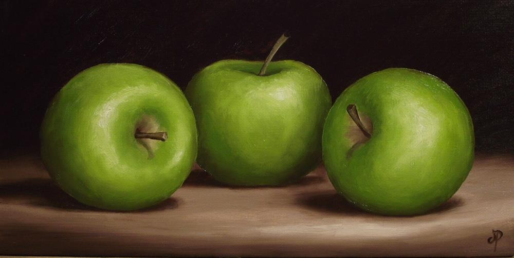 """Three Green Apples"" original fine art by Jane Palmer"