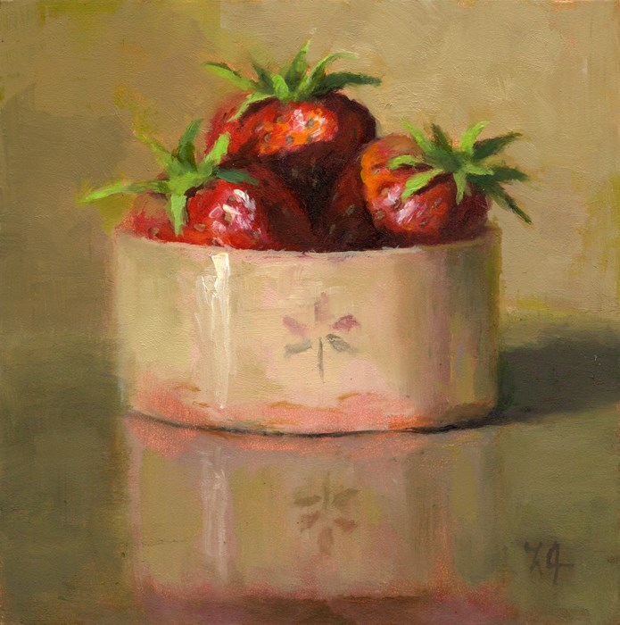 """Strawberries in a Cup"" original fine art by Linda Jacobus"